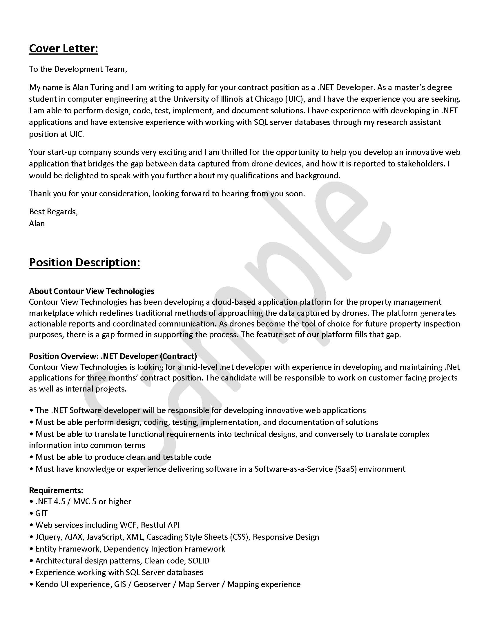 Email or Text Box Cover Letter | Engineering Career Center ...