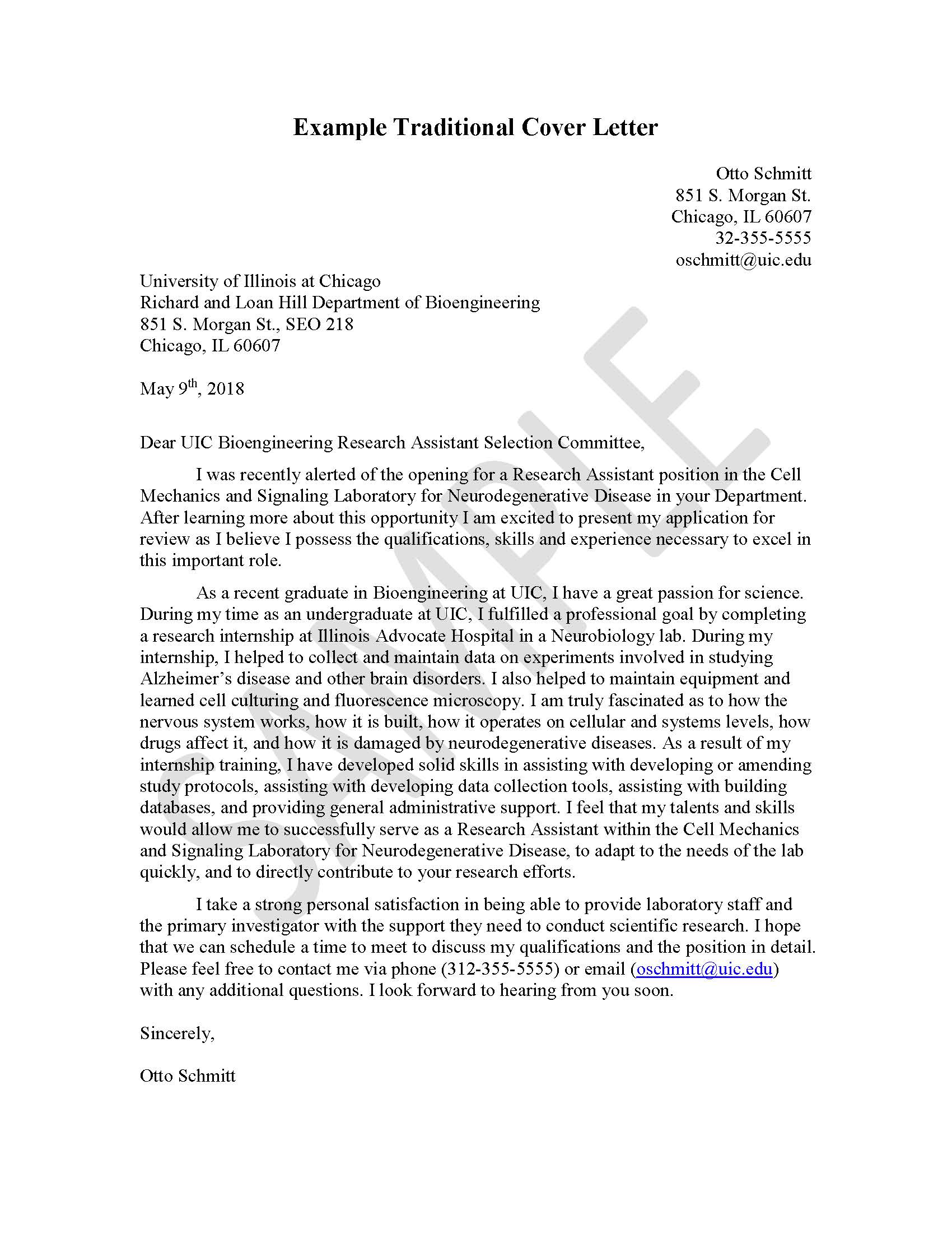 Traditional Sample Cover Letter | Engineering Career Center ...